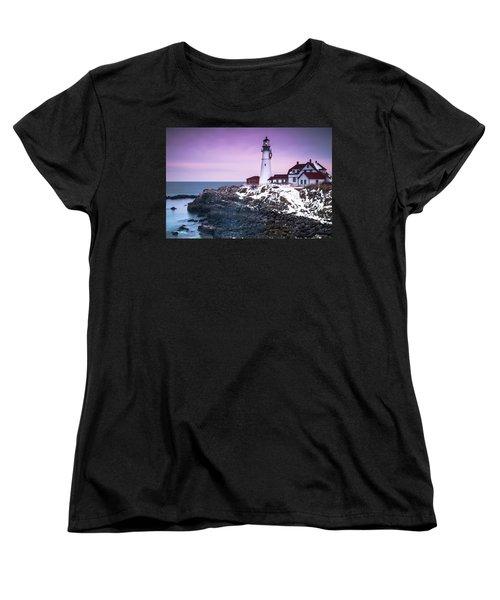 Maine Portland Headlight Lighthouse In Winter Snow Women's T-Shirt (Standard Cut) by Ranjay Mitra
