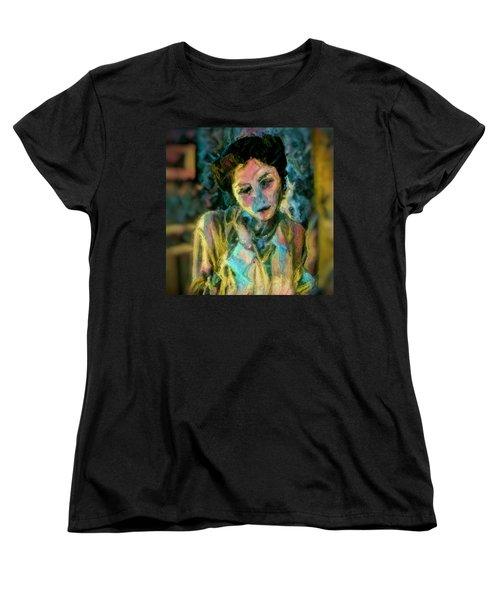 Portrait Colorful Female Wistfully Thoughtful Pastel Women's T-Shirt (Standard Cut) by MendyZ