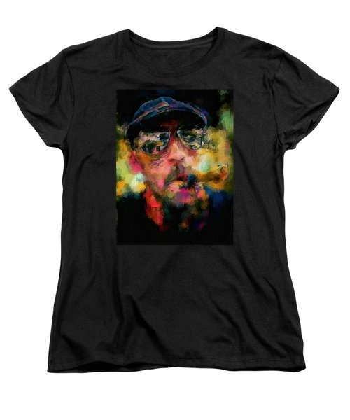 Women's T-Shirt (Standard Cut) featuring the painting Portrait Of A Man In Sunglass Smoking A Cigar In The Sunshine Wearing A Hat And Riding A Motorcycle In Pink Green Yellow Black Blue Oil Paint With Raking Light To Pick Up Paint Texture by MendyZ
