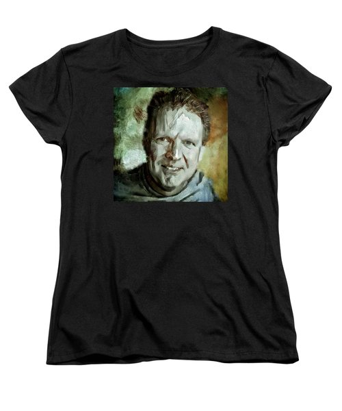 Women's T-Shirt (Standard Cut) featuring the painting Portrait Painting Cinematographer Camera Operator Behind The Scenes Movie Tv Show Film Chicago Med by MendyZ