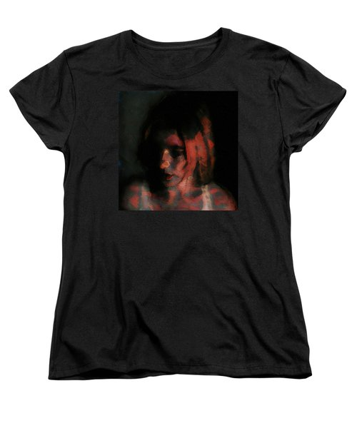Women's T-Shirt (Standard Cut) featuring the painting Portrait Painting Of Girl In Red Gray Black With Wistful Thoughts Of Fleeting Memories by MendyZ
