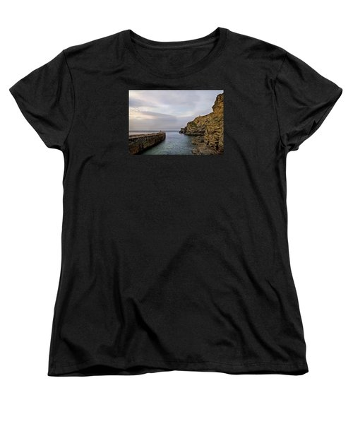 Women's T-Shirt (Standard Cut) featuring the photograph Portreath Harbour, Cornwall Uk by Shirley Mitchell