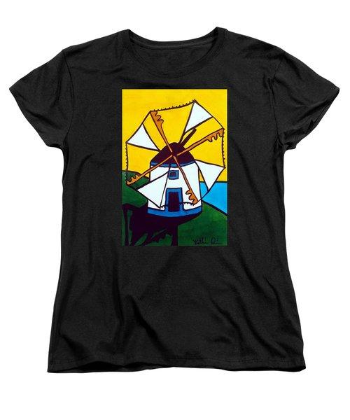 Portuguese Singing Windmill By Dora Hathazi Mendes Women's T-Shirt (Standard Cut)