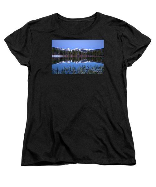 Pre Dawn Image Of The Continental Divide And A Sprague Lake Refl Women's T-Shirt (Standard Cut) by Ronda Kimbrow