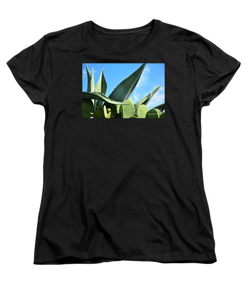 Women's T-Shirt (Standard Cut) featuring the photograph Prickly Pear Cactus And Century Plant by Ray Shrewsberry