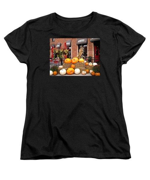 Pumpkin Display Women's T-Shirt (Standard Cut) by Stephanie Moore