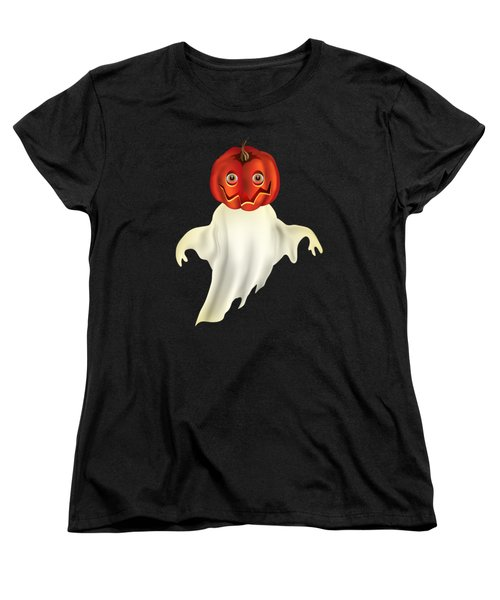 Pumpkin Headed Ghost Graphic Women's T-Shirt (Standard Cut) by MM Anderson