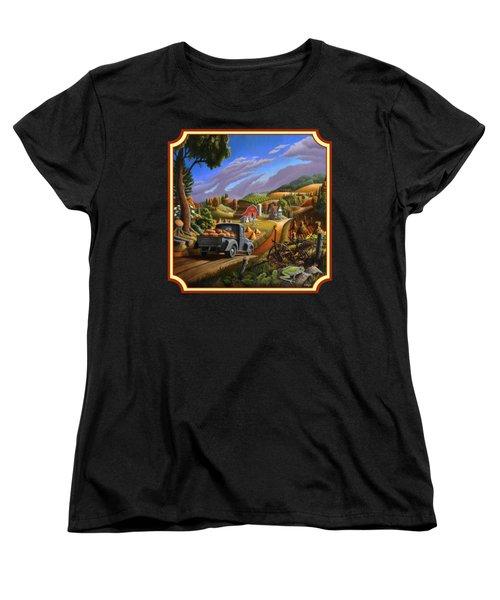 Pumpkins Farm Folk Art Fall Landscape - Square Format Women's T-Shirt (Standard Cut) by Walt Curlee