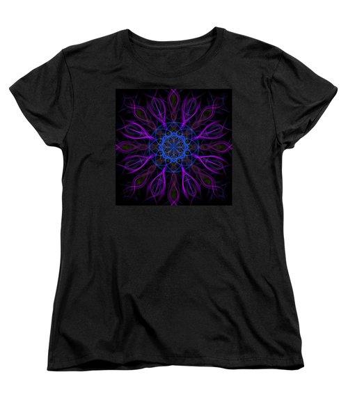 Women's T-Shirt (Standard Cut) featuring the photograph Purple Blue Kaleidoscope Square by Adam Romanowicz