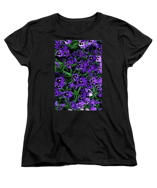 Women's T-Shirt (Standard Cut) featuring the photograph Purple Viola Flowers by Sally Weigand