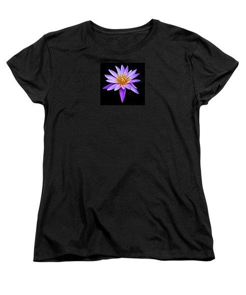Purple Waterlily With Golden Heart Women's T-Shirt (Standard Cut) by Venetia Featherstone-Witty
