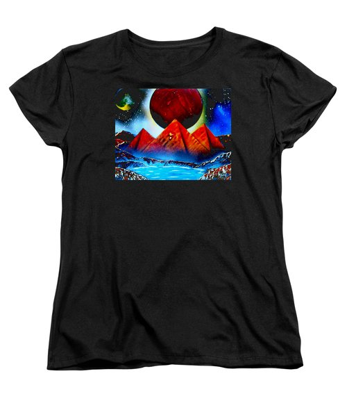 Women's T-Shirt (Standard Cut) featuring the painting Pyramids 4663 E by Greg Moores