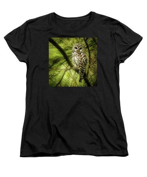 Radiating Barred Owl Women's T-Shirt (Standard Cut) by Jean Noren