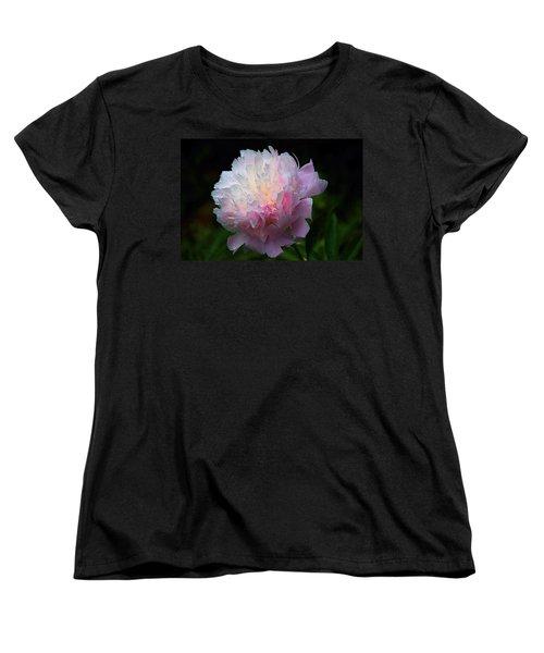 Rain-kissed Peony Women's T-Shirt (Standard Cut) by Byron Varvarigos