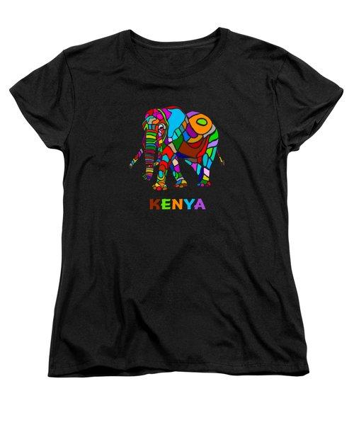 Women's T-Shirt (Standard Cut) featuring the digital art Rainbow Elephant by Anthony Mwangi