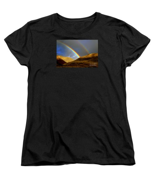 Rainbow In Mountains Women's T-Shirt (Standard Cut) by Irina Hays