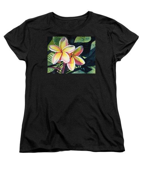 Rainbow Plumeria Women's T-Shirt (Standard Cut)