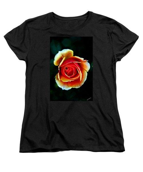 Women's T-Shirt (Standard Cut) featuring the photograph Rainbow Rose by John Haldane