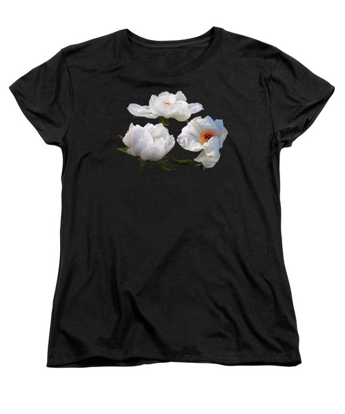 Raindrops On White Tree Peonies Women's T-Shirt (Standard Cut) by Gill Billington