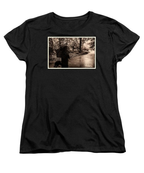 Women's T-Shirt (Standard Cut) featuring the photograph Rainy Day - Woman And Dog by Madeline Ellis