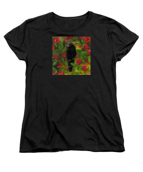 Raven In Roses Women's T-Shirt (Standard Cut) by FT McKinstry