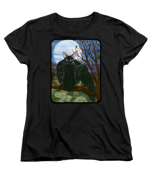 Women's T-Shirt (Standard Cut) featuring the painting Raven's Moon Black Cat Crow by Carrie Hawks