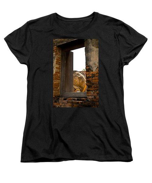 Reclining Buddha View Through A Window Women's T-Shirt (Standard Cut) by Ulrich Schade