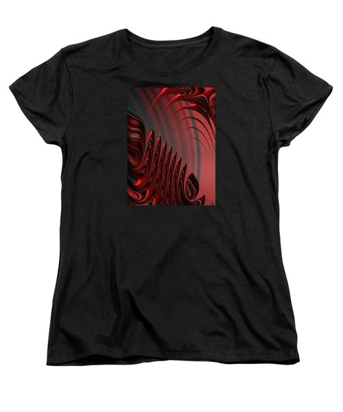 Red And Black Modern Fractal Design Women's T-Shirt (Standard Cut) by Matthias Hauser