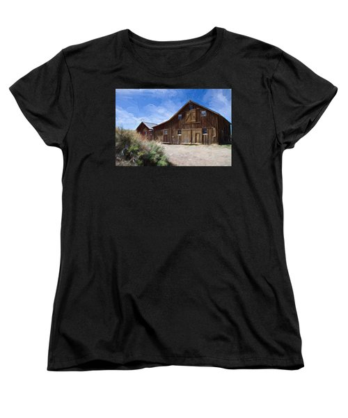 Women's T-Shirt (Standard Cut) featuring the photograph Red Barn Of Bodie by Lana Trussell