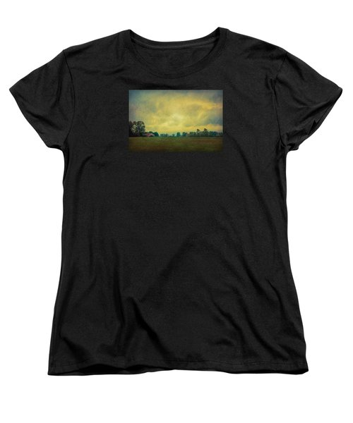 Red Barn Under Stormy Skies Women's T-Shirt (Standard Cut) by Don Schwartz