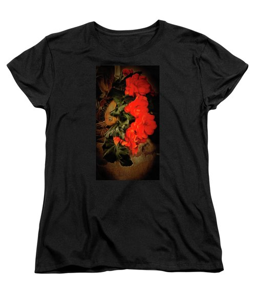 Women's T-Shirt (Standard Cut) featuring the photograph Red Begonias by Thom Zehrfeld