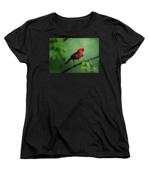Red Bird On A Hot Day Women's T-Shirt (Standard Cut) by Lois Bryan
