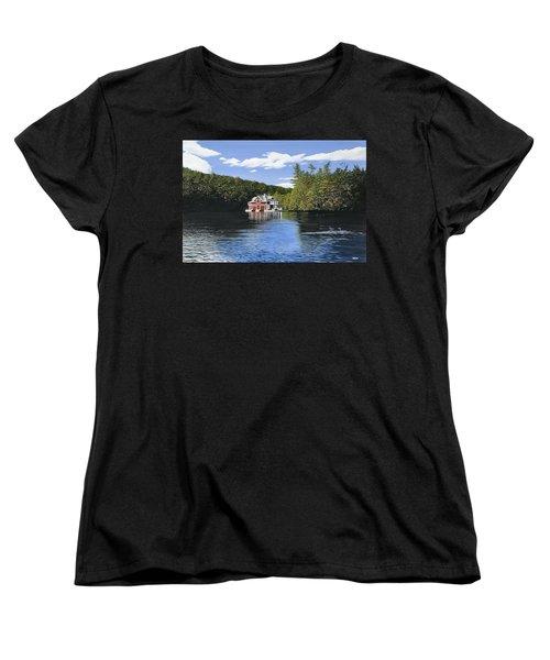 Red Boathouse Women's T-Shirt (Standard Cut) by Kenneth M  Kirsch