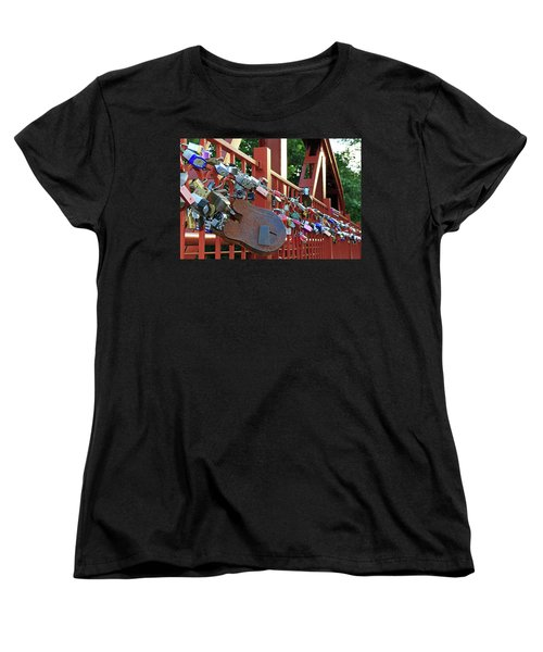Women's T-Shirt (Standard Cut) featuring the photograph Red Bridge Locks by Christopher McKenzie