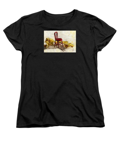 Red Chair And Yellow Leaves Women's T-Shirt (Standard Cut) by Debra Baldwin