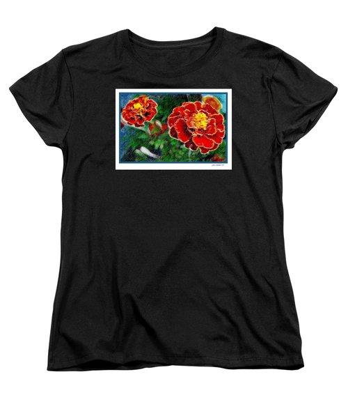 Women's T-Shirt (Standard Cut) featuring the photograph Red Flower In Autumn by Joan  Minchak
