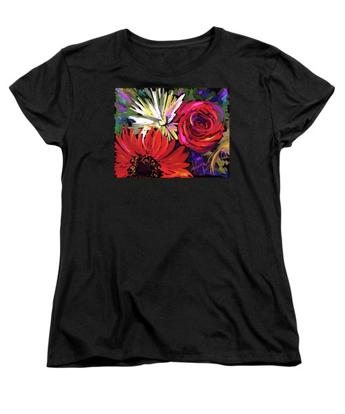 Red Flowers Women's T-Shirt (Standard Cut) by DC Langer