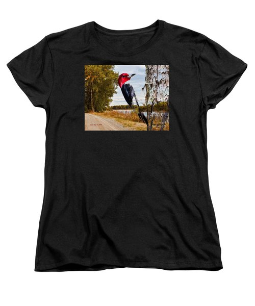 Women's T-Shirt (Standard Cut) featuring the photograph Red Headed Woodpecker In Wilderness by Annie Zeno