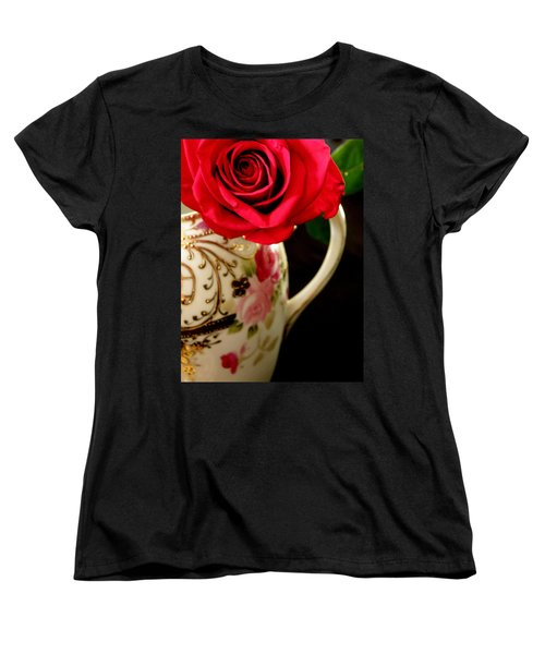 Red Red Rose Women's T-Shirt (Standard Cut) by Lainie Wrightson