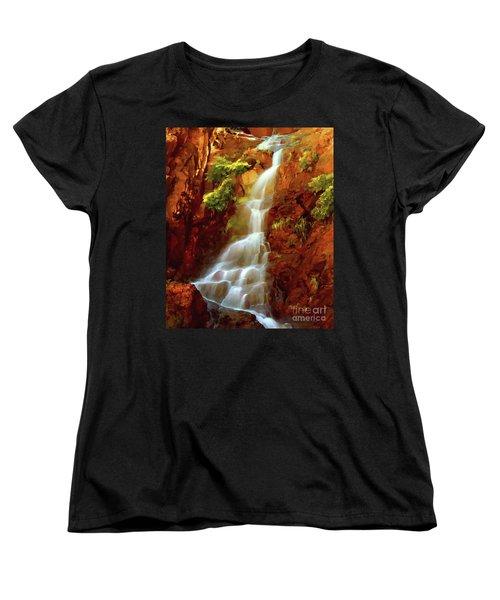 Women's T-Shirt (Standard Cut) featuring the painting Red River Falls by Peter Piatt