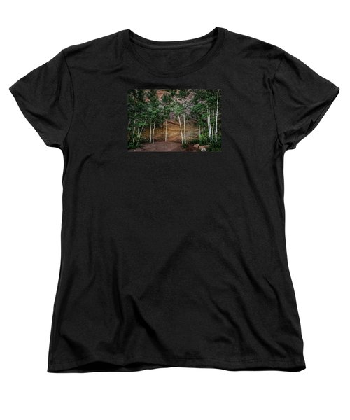 Red Rock Wall Women's T-Shirt (Standard Cut) by Mary Angelini