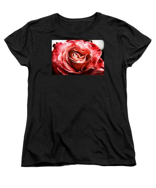 Red Rose  Women's T-Shirt (Standard Cut) by Mariola Bitner