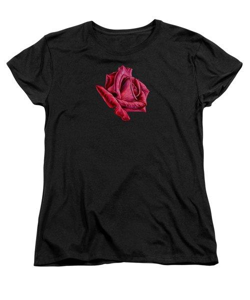Red Rose On Black Women's T-Shirt (Standard Cut)