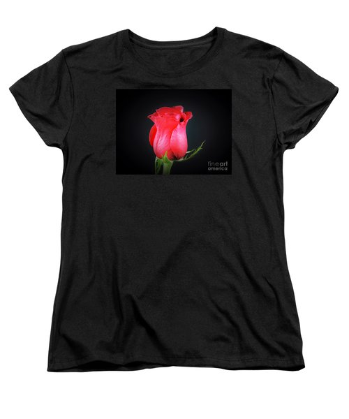 Red Rose Shows Love  Women's T-Shirt (Standard Cut) by Ray Shrewsberry