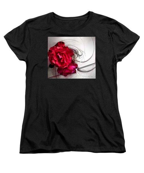 Red Roses Women's T-Shirt (Standard Cut) by Susan Kinney