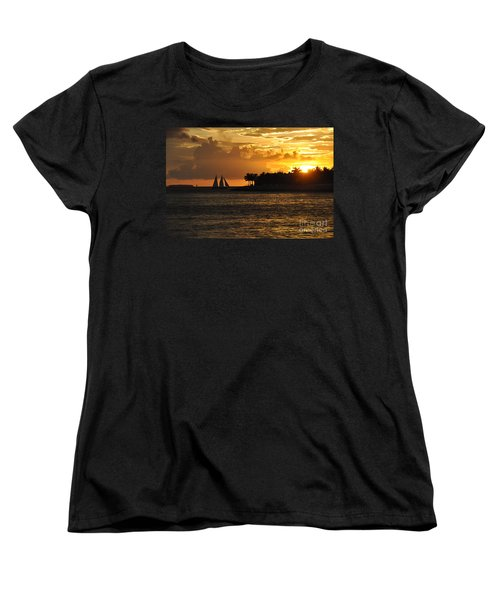 Women's T-Shirt (Standard Cut) featuring the photograph Red Sails At Night by John Black