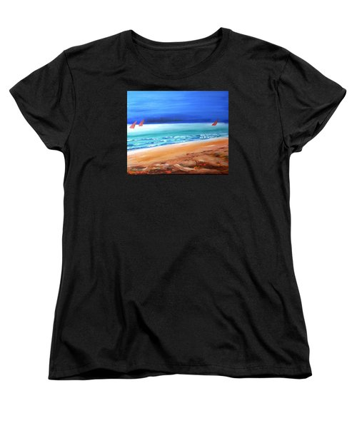 Women's T-Shirt (Standard Cut) featuring the painting Red Sails by Winsome Gunning