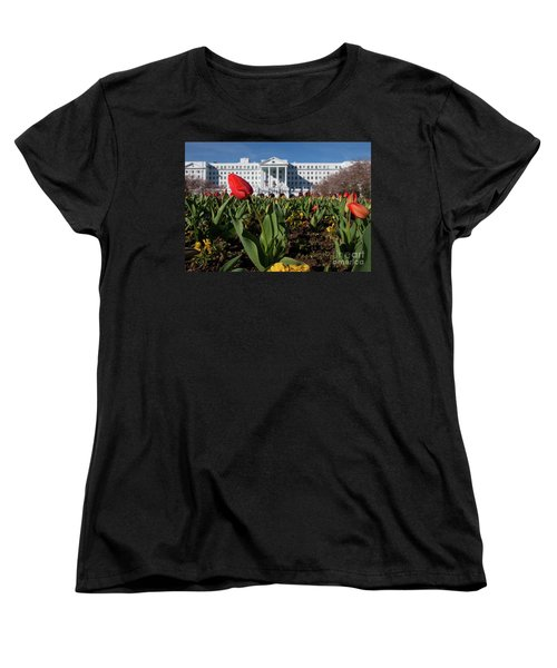 Women's T-Shirt (Standard Cut) featuring the photograph Red Tulip At The Greenbrier by Laurinda Bowling