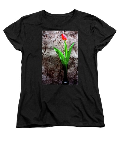 Women's T-Shirt (Standard Cut) featuring the photograph Red Tulip by Gray  Artus