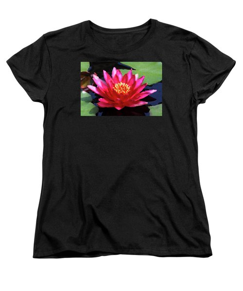 Red Water Lily - Palette Knife Women's T-Shirt (Standard Cut) by Lou Ford